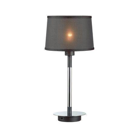 Настольная лампа Odeon Light Loka 4159/1T, 1xE27x15W, хром, черный, металл, текстиль