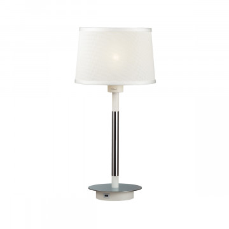Настольная лампа Odeon Light Loka 4160/1T, 1xE27x15W, хром, белый, металл, текстиль