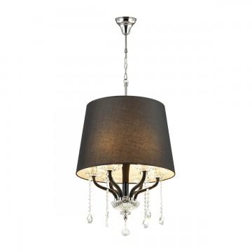 Подвесная люстра Odeon Light 4194/6, хром, прозрачный, черный, металл, хрусталь, текстиль