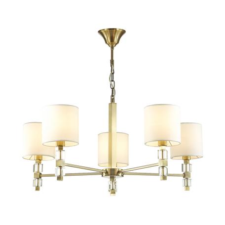 Подвесная люстра Odeon Light Pavia 4112/5, 5xE14x40W, бронза, белый, металл со стеклом/хрусталем, текстиль
