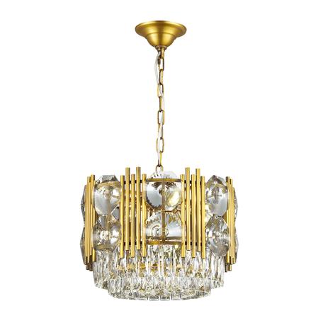 Подвесная люстра Odeon Light Pallada 4120/10, 10xE14x40W, золото, прозрачный, металл, хрусталь