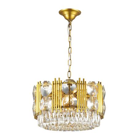 Подвесная люстра Odeon Light Pallada 4120/14, 14xE14x40W, золото, прозрачный, металл, хрусталь