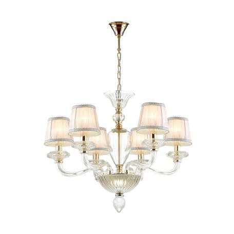 Подвесная люстра Odeon Light 4184/6, золото, прозрачный, розовый, металл, стекло, хрусталь, текстиль