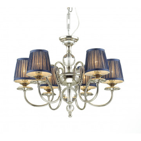 Подвесная люстра Odeon Light 4191/6, хром, прозрачный, синий, металл, стекло, текстиль