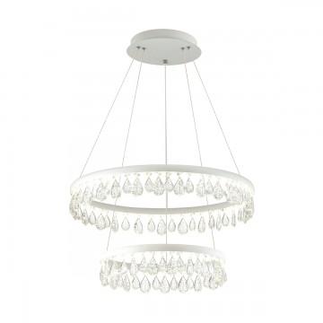 Подвесной светодиодный светильник Odeon Light Onix 4602/60L, LED 60W 7000lm, белый, прозрачный, металл, хрусталь