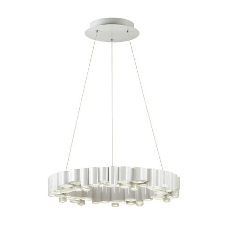 Подвесной светодиодный светильник Odeon Light Elis 4107/36L, LED 36W 4000K 2628lm, белый, металл, пластик