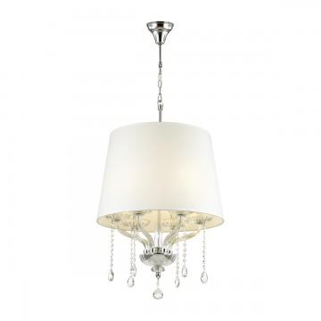 Подвесная люстра Odeon Light 4195/6, хром, прозрачный, белый, металл, хрусталь, текстиль
