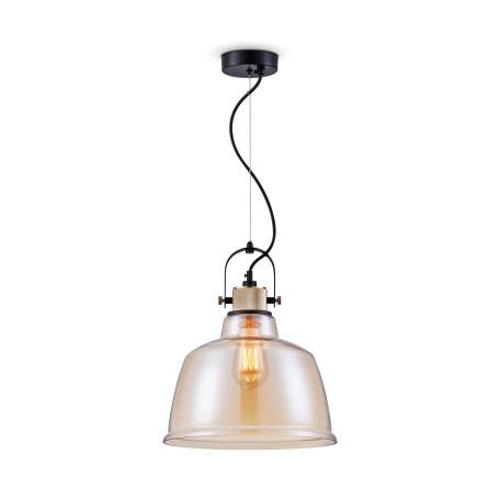 Подвесной светильник Maytoni Modern Irving T163PL-01R, 1xE27x40W, черный, янтарь, металл, стекло