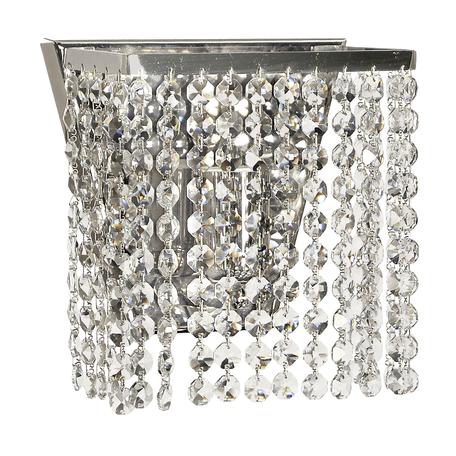 Бра Arti Lampadari Milano E 2.10.100 N, 1xE27x60W, никель, прозрачный, металл, хрусталь