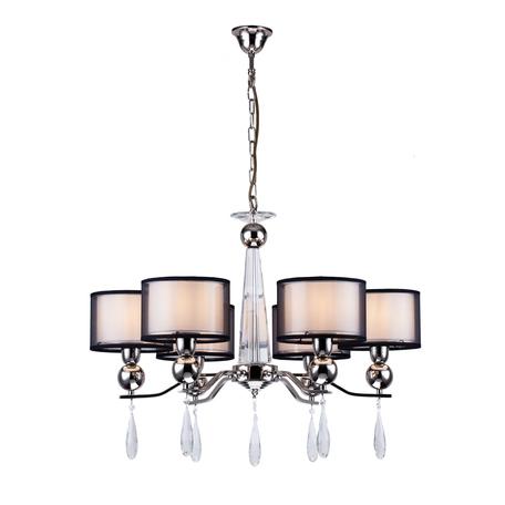 Подвесная люстра Arti Lampadari Rufina E 1.1.6.600 N, 6xE14x40W, белый, черный, прозрачный, металл, стекло, текстиль, хрусталь