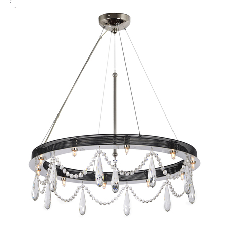 Подвесной светильник Arti Lampadari Artena H 1.3.60.600 N, 10xG9x40W, никель, прозрачный, металл, хрусталь