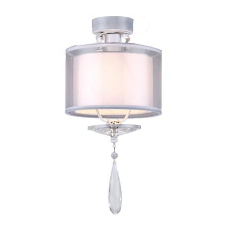 Потолочный светильник Arti Lampadari Rufina E 1.3.P1 W, 1xE14x40W, белый, прозрачный, металл, стекло, текстиль, хрусталь