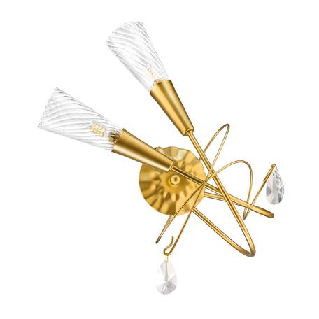 Бра Lightstar Aereo 711621, 2xG9x25W, матовое золото, прозрачный, металл, стекло, хрусталь