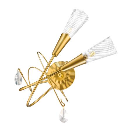 Бра Lightstar Aereo 711631, 2xG9x25W, матовое золото, прозрачный, металл, стекло, хрусталь