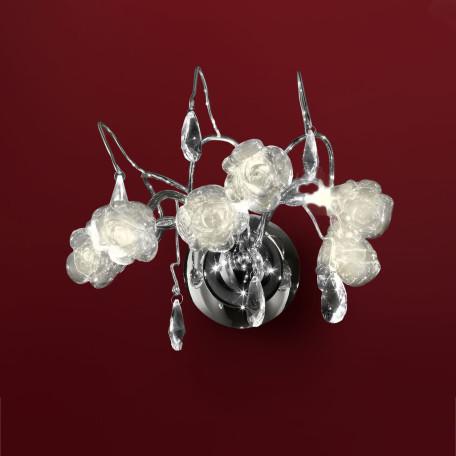 Бра Citilux Rosa Bianco EL325W03.1, 2xG9x40W, хром, белый, прозрачный, металл, стекло, хрусталь