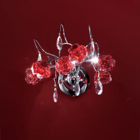 Бра Citilux Rosa Rosso EL325W03.2, 2xG9x40W, хром, красный, прозрачный, металл, стекло, хрусталь