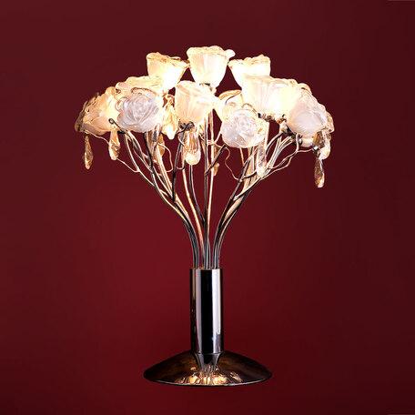 Настольная лампа Citilux Rosa Bianco EL325T04.1, 4xG9x40W, хром, белый, прозрачный, металл, стекло, хрусталь