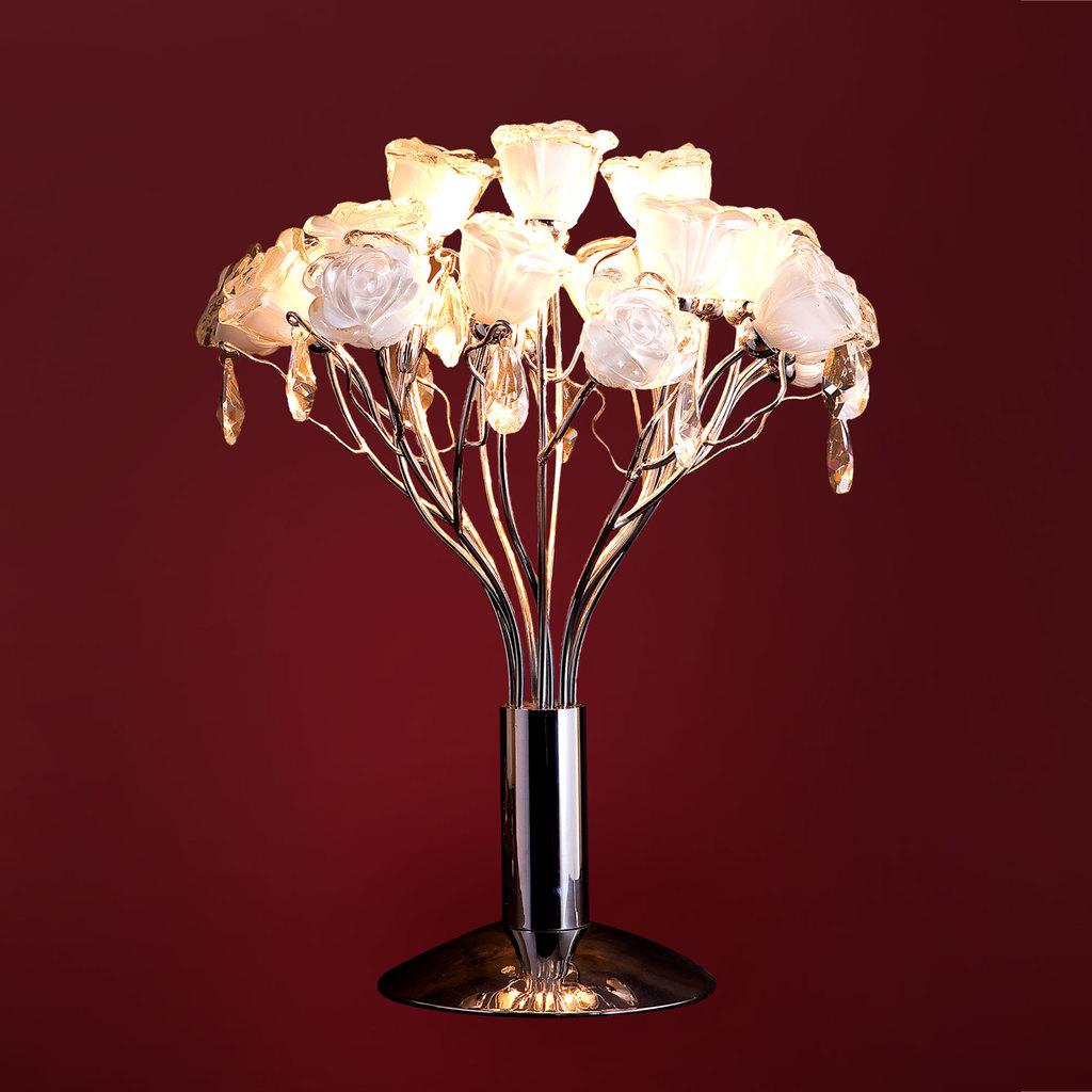 Настольная лампа Citilux Rosa Bianco EL325T04.1, 4xG9x40W, хром, белый, прозрачный, металл, стекло, хрусталь - фото 1