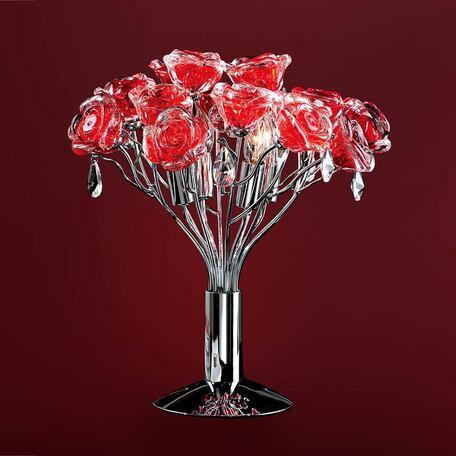 Настольная лампа Citilux Rosa Rosso EL325T04.2, 4xG9x40W, хром, красный, прозрачный, металл, стекло, хрусталь