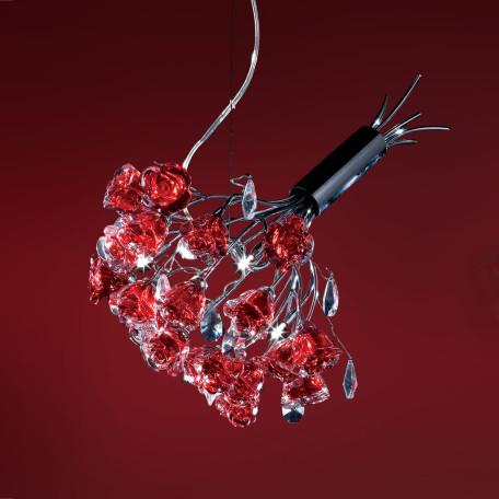 Подвесная люстра Citilux Rosa Rosso EL325P04.2, 4xG9x40W, хром, красный, прозрачный, металл, стекло, хрусталь