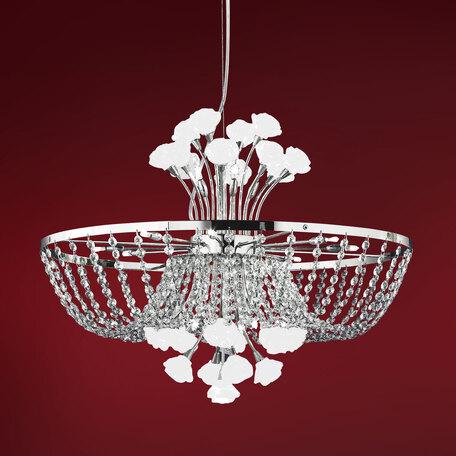 Подвесная люстра Citilux Rosa Bianco EL325P12.1, 12xG9x40W, хром, белый, прозрачный, металл, стекло, хрусталь
