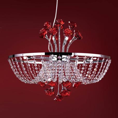 Подвесная люстра Citilux Rosa Rosso EL325P12.2, 12xG9x40W, хром, красный, прозрачный, металл, стекло, хрусталь