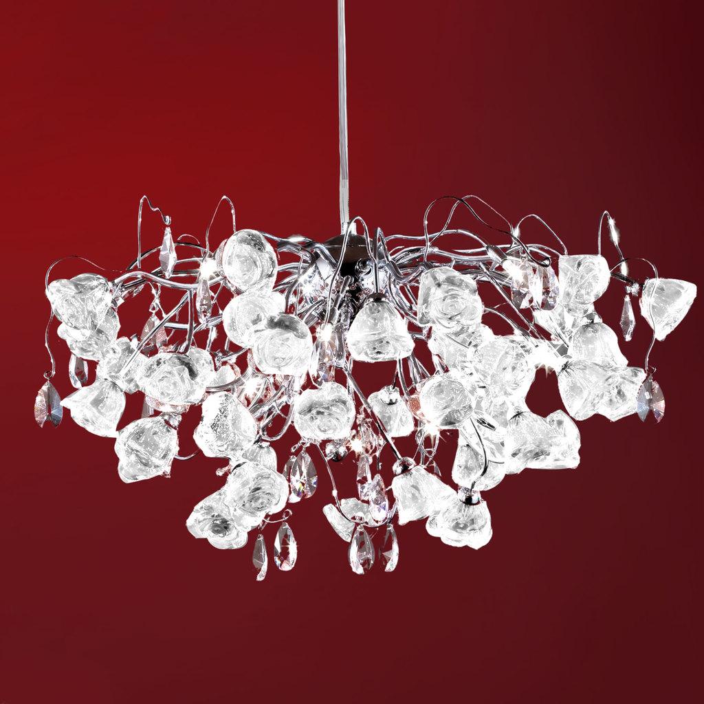 Подвесная люстра Citilux Rosa Bianco EL325P15.1, 12xG9x40W, хром, белый, прозрачный, металл, стекло, хрусталь - фото 1
