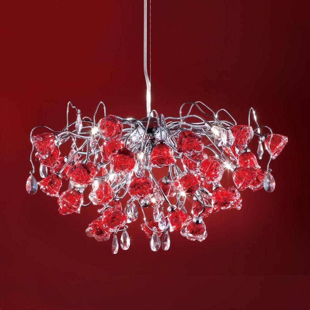 Подвесная люстра Citilux Rosa Rosso EL325P15.2, 12xG9x40W, хром, красный, прозрачный, металл, стекло, хрусталь - фото 1