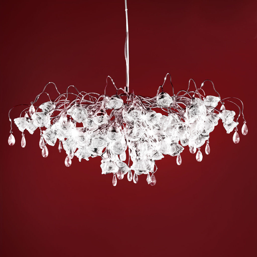 Подвесная люстра Citilux Rosa Bianco EL325P17.1, 17xG9x40W, хром, белый, прозрачный, металл, стекло, хрусталь - фото 1