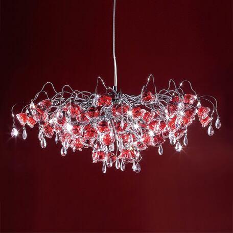Подвесная люстра Citilux Rosa Rosso EL325P17.2, 17xG9x40W, хром, красный, прозрачный, металл, стекло, хрусталь