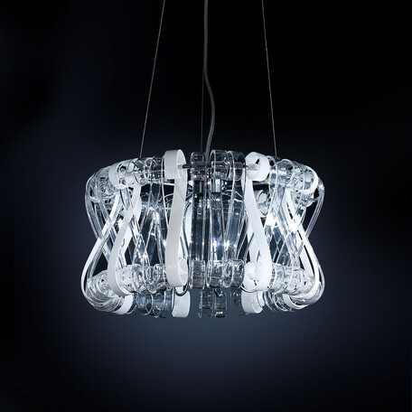 Подвесная люстра Citilux Volution Bianco EL326P09.1, 9xG9x40W, хром, белый, прозрачный, металл, стекло - миниатюра 1