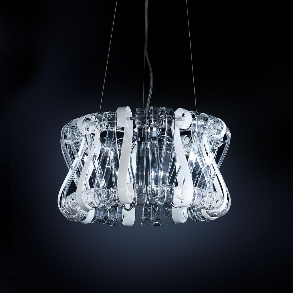Подвесная люстра Citilux Volution Bianco EL326P09.1, 9xG9x40W, хром, белый, прозрачный, металл, стекло - фото 1