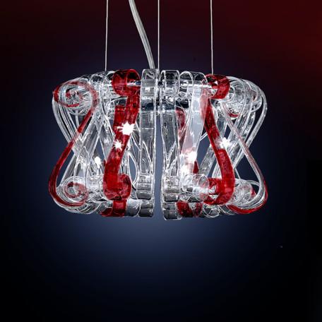 Подвесная люстра Citilux Volution Rosso EL326P09.2, 9xG9x40W, хром, красный, прозрачный, металл, стекло