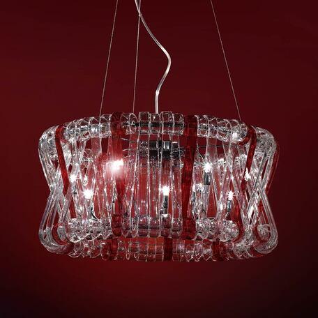 Подвесная люстра Citilux Volution Rosso EL326P12.2, 12xG9x40W, хром, красный, прозрачный, металл, стекло