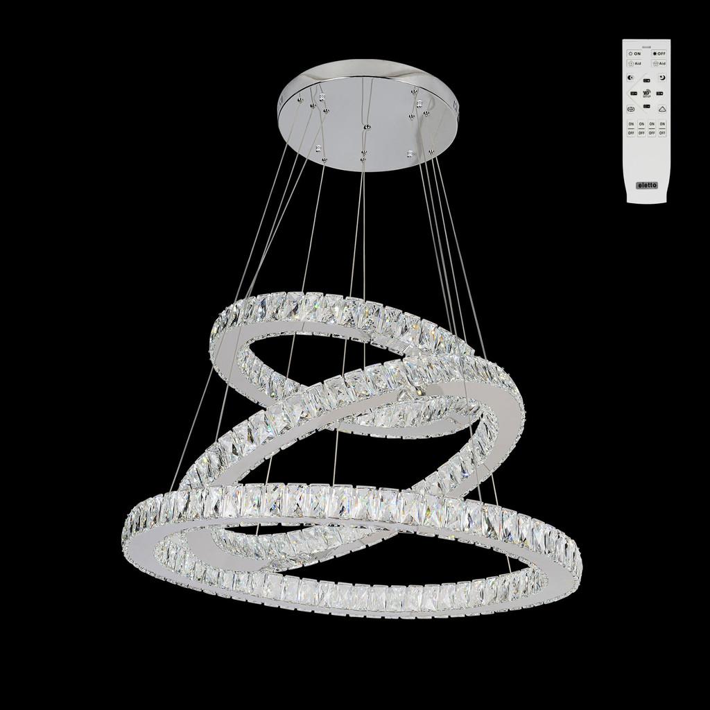 Подвесной светодиодный светильник с пультом ДУ Citilux Olimpia EL330P90.1, LED 90W 3000-4500K 7500lm, хром, металл, хрусталь - фото 1