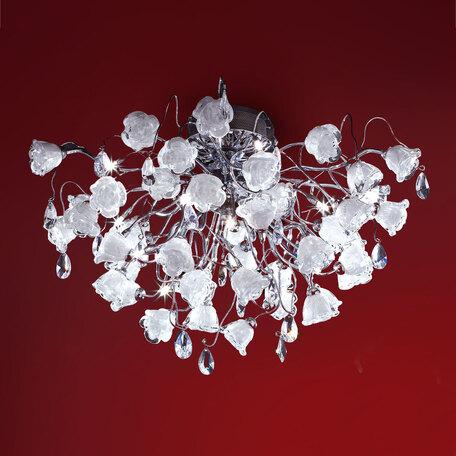Потолочная люстра Citilux Rosa Bianco EL325C15.1, 12xG9x40W, хром, белый, прозрачный, металл, стекло, хрусталь