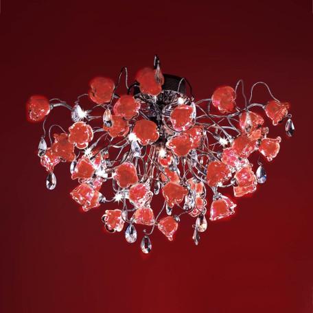 Потолочная люстра Citilux Rosa Rosso EL325C15.2, 12xG9x40W, хром, красный, прозрачный, металл, стекло, хрусталь