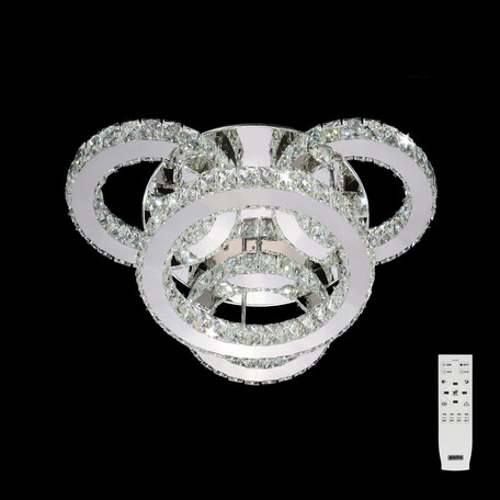 Потолочная светодиодная люстра с пультом ДУ Citilux Olimpia EL330C70.1, LED 70W 3000-4500K 6000lm, хром, металл, хрусталь