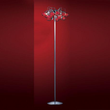 Торшер Citilux Rosa Rosso EL325F05.2, 4xG9x40W, хром, красный, прозрачный, металл, стекло, хрусталь