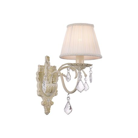 Бра Favourite Gara 1408-1W, 1xE14x40W, бежевый, золото, белый, прозрачный, металл, текстиль, хрусталь