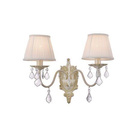 Бра Favourite Gara 1408-2W, 2xE14x40W, бежевый, золото, белый, прозрачный, металл, текстиль, хрусталь