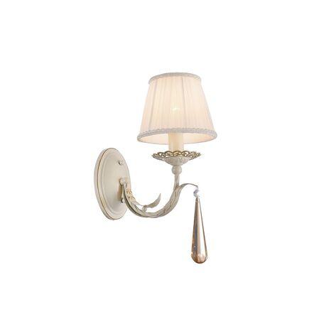 Бра Favourite Triste 1409-1W, 1xE14x40W, бежевый с золотой патиной, белый, коньячный, прозрачный, металл, текстиль, хрусталь
