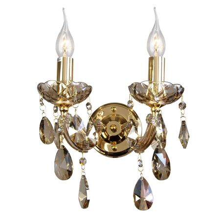 Бра Favourite Teresia 1650-2W, 2xE14x40W, золото, янтарь, стекло, хрусталь