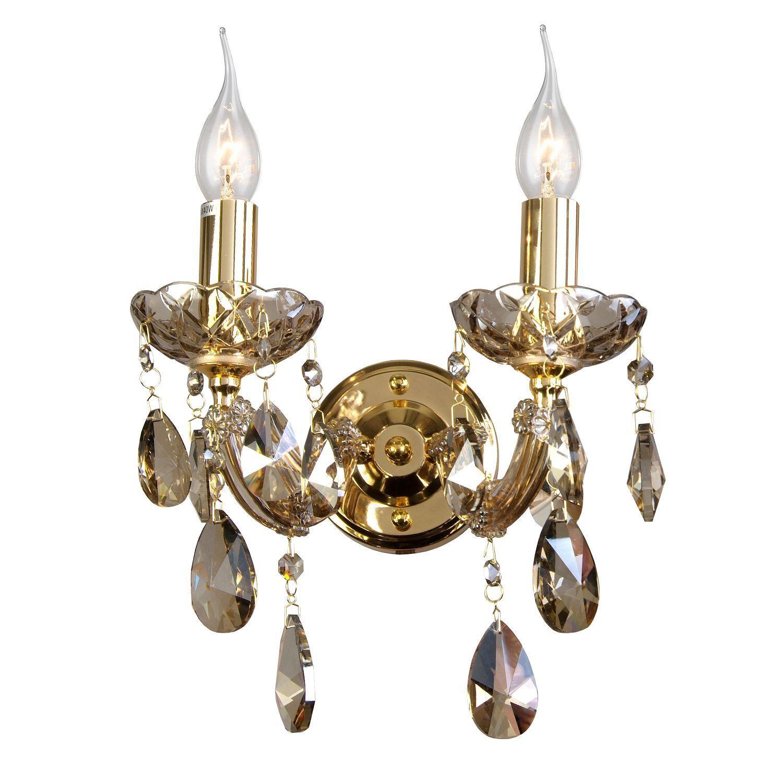 Бра Favourite Teresia 1650-2W, 2xE14x40W, золото, янтарь, стекло, хрусталь - фото 1