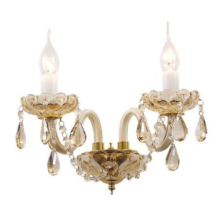 Бра Favourite Brendy 1738-2W, 2xE14x40W, золото, коньячный, стекло, хрусталь