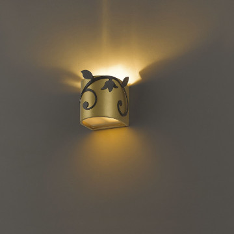 Настенный светильник Favourite Florina 1465-1W, 1xG9x40W, матовое золото, металл, стекло