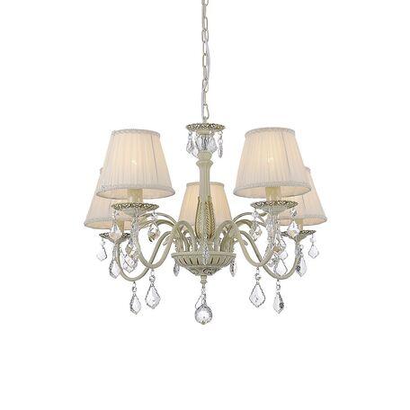 Подвесная люстра Favourite Gara 1408-5P, 5xE14x40W, бежевый, золото, белый, прозрачный, металл, текстиль, хрусталь