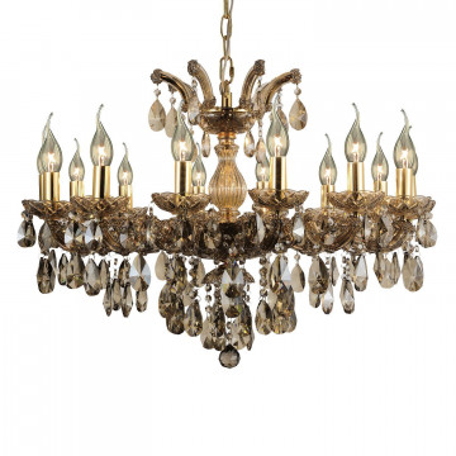 Подвесная люстра Favourite Teresia 1650-14P, 14xE14x40W, золото, янтарь, стекло, хрусталь