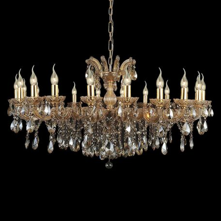 Подвесная люстра Favourite Teresia 1650-20P, 20xE14x40W, золото, янтарь, стекло, хрусталь