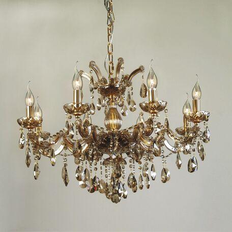 Подвесная люстра Favourite Teresia 1650-8P, 8xE14x40W, золото, янтарь, стекло, хрусталь